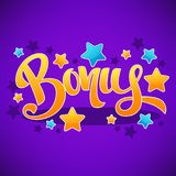 Bonus, Congratulation Bright And Glossy Banner With Handdrawn Le Royalty Free Stock Images