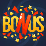 Bonus, Congratulation Bright And Glossy Banner Stock Photo