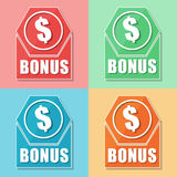 Bonus and dollar symbol, four colors web icons Royalty Free Stock Photography