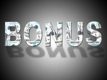Bonus Dollars Represents Gratuity Perk And American Stock Photos