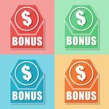 Bonus en dollarsymbool, vier pictogrammen van het kleurenweb Royalty-vrije Stock Fotografie