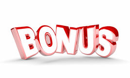 Bonus Extra Added Free Value Feature Word Royalty Free Stock Photography