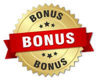 Bonus. Gold badge with red ribbon stock illustration