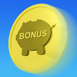 Bonus  Gold Coin Means Monetary Reward Or Benefit Stock Images