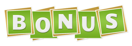 Bonus Green Blocks. Bonus text alphabets written over green background Royalty Free Stock Photo