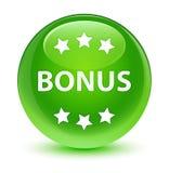 Bonus icon glassy green round button Stock Image