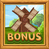 Bonus icon for slots game in farm style Stock Photo
