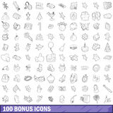 100 bonus icons set, outline style. 100 bonus icons set in outline style for any design vector illustration Stock Photo