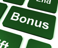 Bonus Key Shows Extra Gift Or Gratuity Online Stock Images