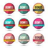 Bonus Labels Set. Retro Stickers Isolated on White Background. Bonus Labels Set. Vector Retro Stickers Isolated on White Background royalty free illustration