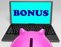Bonus Laptop Means Perk Benefit Or Dividends. Bonus Laptop Meaning Perk Benefit Or Dividends Royalty Free Stock Images