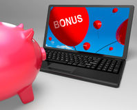 Bonus Laptop Shows Perks Rewards And Extras Stock Photo