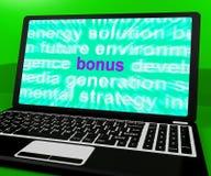 Bonus On Laptop Shows Rewards Prizes Or Perks Online. Bonus On Laptop Showing Rewards Prizes Or Perks Online Stock Image