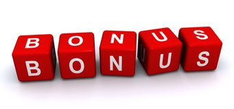 "Bonus. Letter blocks with the word ""bonus"" on white background Stock Image"