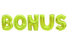 Bonus lime color. Word bonus in english alphabet from lime color balloons on a white background. holidays and education royalty free stock images