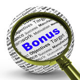 Bonus Magnifier Definition Shows Financial Reward Or Benefit Royalty Free Stock Photo