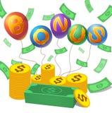 Bonus met geld, muntstuk royalty-vrije illustratie