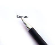 Bonus met pen royalty-vrije stock foto