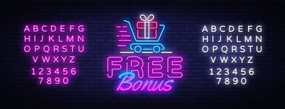 Bonus neon sign vector. Free Bonus Design template neon sign, light banner, neon signboard, nightly bright advertising. Light inscription. Vector illustration stock illustration
