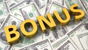 Bonus op de dollarachtergrond Stock Foto