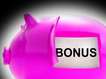 Bonus Piggy Bank Coins Means Perk Or Benefit Royalty Free Stock Photos