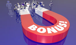 Bonus Premium Incentive Magnet Attracting People Stock Photo