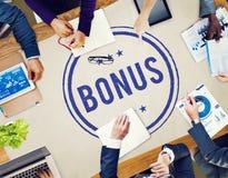 Bonus Prize Profit Incentive Additional Compensation Concept. People Having Bonus Prize Profit Incentive Additional Compensation stock image