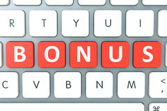 Bonus red word on keyboard, business concept Royalty Free Stock Photography