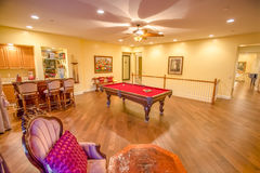 Bonus room with billiard table. Bonus room in southern California home stock images