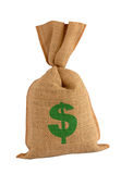Bonus sack. Canvas bonus money sack. Isolated with path royalty free stock images
