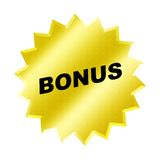 Bonus sign. Yellow bonus sign - web button - internet design Stock Photo