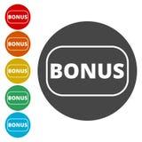 Bonus sign, Bonus icon. Simple icons set royalty free illustration