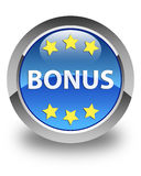 Bonus stars icon glossy blue round button Royalty Free Stock Photography