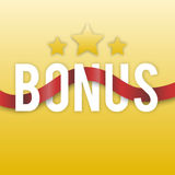 Bonus with stars and red ribbon on a gold background. Icon  Royalty Free Stock Image