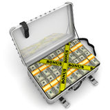 Bonus. Suitcase full of money. A suitcase filled with bundles of US dollars and yellow tapes with text `BONUS`. Isolated. 3D Illustration Stock Images