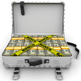 Bonus. Suitcase full of money. A suitcase filled with bundles of US dollars and yellow tapes with text `BONUS`. Isolated. 3D Illustration Royalty Free Stock Image