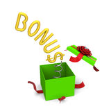 Bonus symbol springing out from a gift box. 3D of bonus symbol springing out from a green gift box Royalty Free Stock Photos