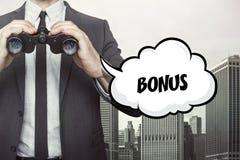 Bonus text on blackboard with businessman Stock Photos
