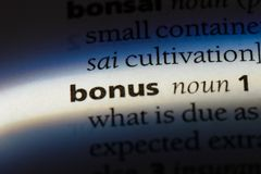 Bonus. Word in a dictionary.  concept royalty free stock photography