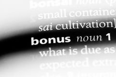 Bonus. Word in a dictionary.  concept stock photography