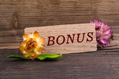 Bonus. Word on wooden card with dried flower on wood royalty free stock photos