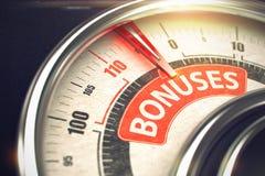 Bonusar - text på det begreppsmässiga måttet med den röda visaren 3d Royaltyfria Foton