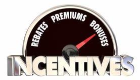Bonusen för incitamentrabattPremiums erbjuder hastighetsmätaren royaltyfri illustrationer