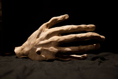 Bony hand. An artificial hand as a decoration or for theater royalty free stock photo