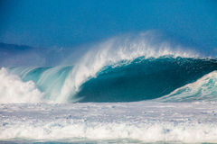 Bonzai Pipeline on Oahu's North Shore in Hawaii Stock Photos
