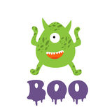 Boo card with funny monster Royalty Free Stock Photos