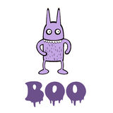 Boo card with funny monster Royalty Free Stock Image