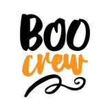 Boo Crew - Halloween overlays, lettering labels design. Retro badge. Hand drawn isolated emblem with quote. Halloween party sign or logo. scrap booking stock illustration