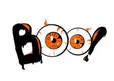 boo Fond de bannière de Halloween avec des yeux Lettrage, affiche, calibre de design de carte Illustration de vecteur illustration de vecteur