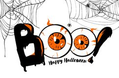 boo Fond heureux de bannière de Halloween, marquant avec des lettres avec les yeux oranges Toile d'araignée et araignée effrayant illustration stock